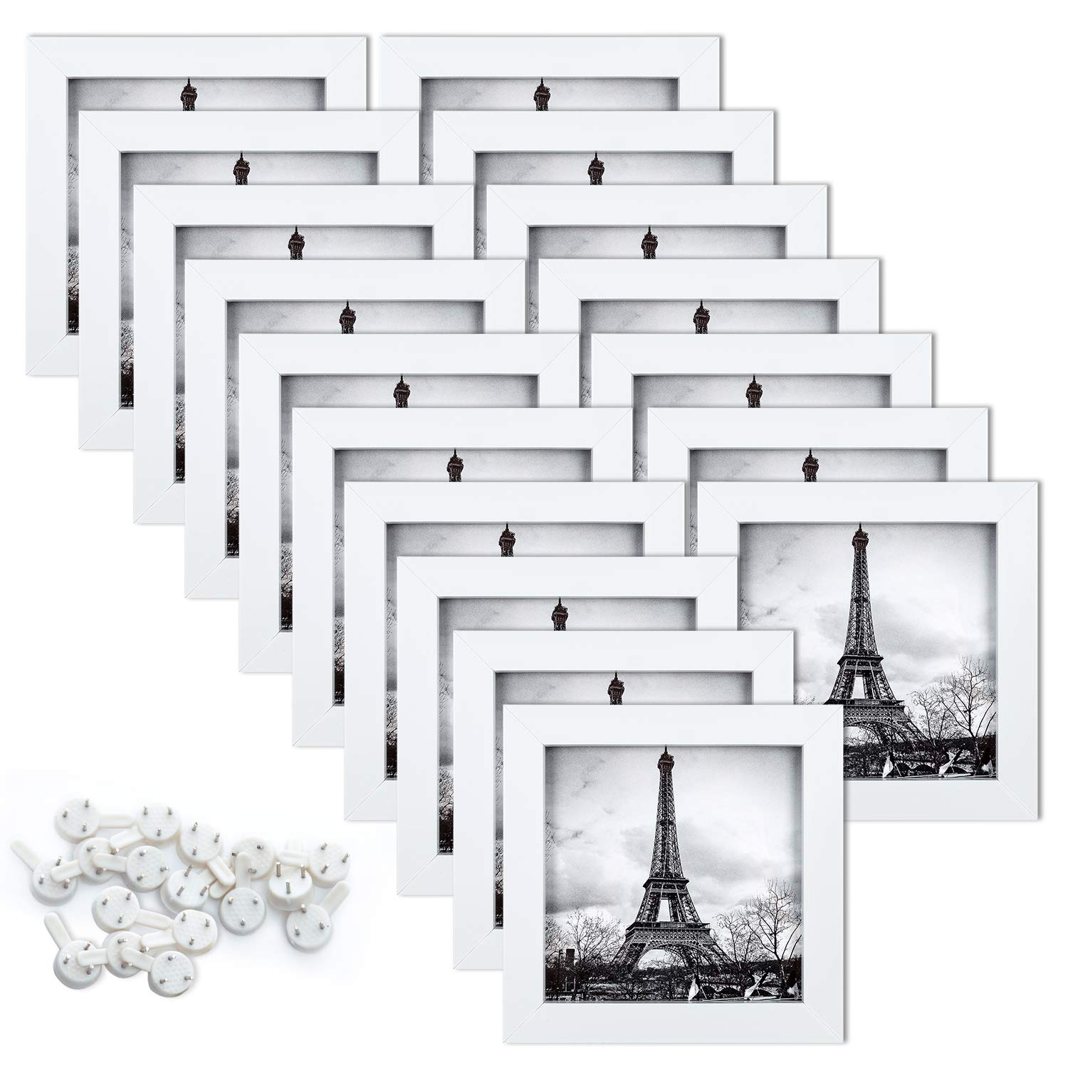 upsimples 5x5 Picture Frame Set of 17,Multi Photo Frames Collage for Wall or Tabletop Display,White by upsimples