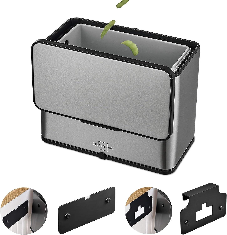 SILBERTHAL Compostador Cocina 8 filtros de Recambio   Papelera Cocina para residuos organicos   Cubo Basura organica con Tapa   Acero Inoxidable