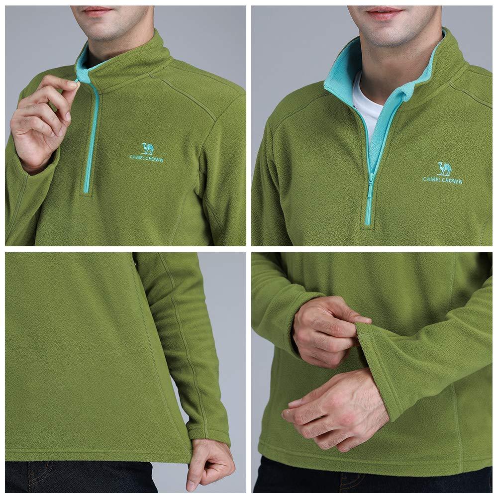 CAMEL CROWN Sudadera 1//4 Zip Forro Polar-Forro Media Cremallera Chaqueta para Hombre Moda