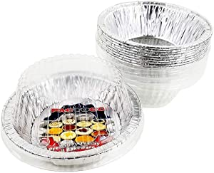 """PACTOGO 5 3/4"""" Aluminum Foil Meat Pot Pie Pan w/Clear Dome Lid Disposable 12 oz. Cooking Baking Tin - Heavy Duty Made in USA (Pack of 12 Sets)"""