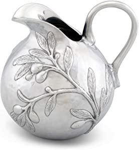 """Arthur Court Aluminum Olive Branch Tuscan Pattern Table Serving Water/Juice Pitcher 100 oz. 9"""" Tall"""