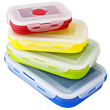 Silicone Collapsible Food Storage Containers   Folding Food Storage 4  Different Sizes Lunch Box   By