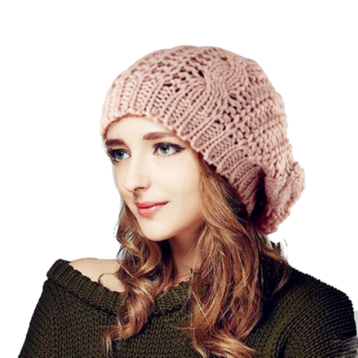 Beyondfashion Winter Lady's Warm Knitted Knit Beret Braided Ski Cap Baggy Beanie Crochet women Hat
