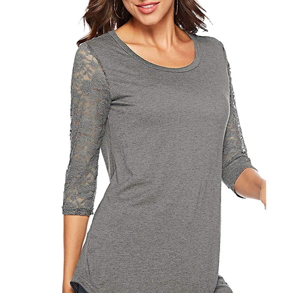 60b3da1f4bcf9 Limsea 2019 Women s T-Shirt Tunic Tops Fashion Long Sleeve High Low Hem  Patchwork Floral Print O Neck at Amazon Women s Clothing store