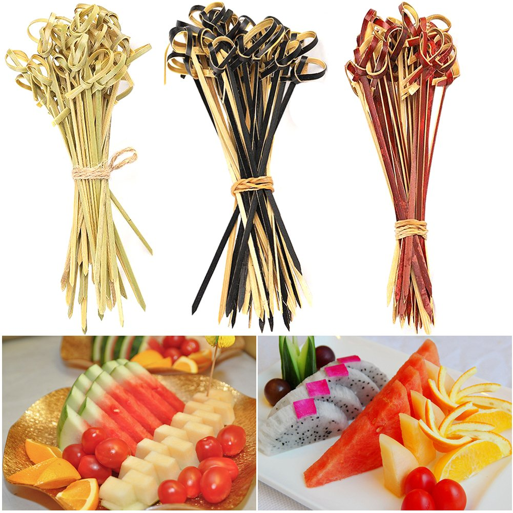 9cm//3.54,Green Multi-function 100pcs Tableware Eco-friendly Kitchen Accessories Bamboo Stick Knot Skewers Disposable,Bamboo Cocktail Sticks Sandwich Fruit Toothpicks Cocktail Picks Party Supplies