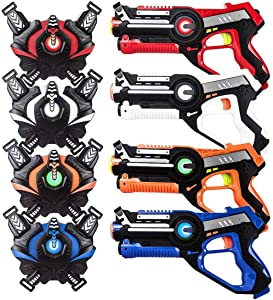 HISTOYE Large Laser Tag Sets with Gun and Vest Infrared Laser Tag Guns Toys for Kids Adults Indoor Outdoor Lazer Tag Blaster Best Gift for 4 5 6 7 8 9 10 11 12+ Year Old Boys Girls (4 Packs)