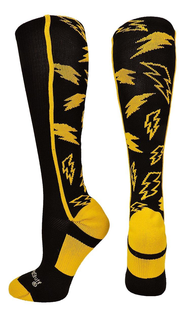 MadSportsStuff Crazy Socks Lightning Bolts (Black/Gold, Small)