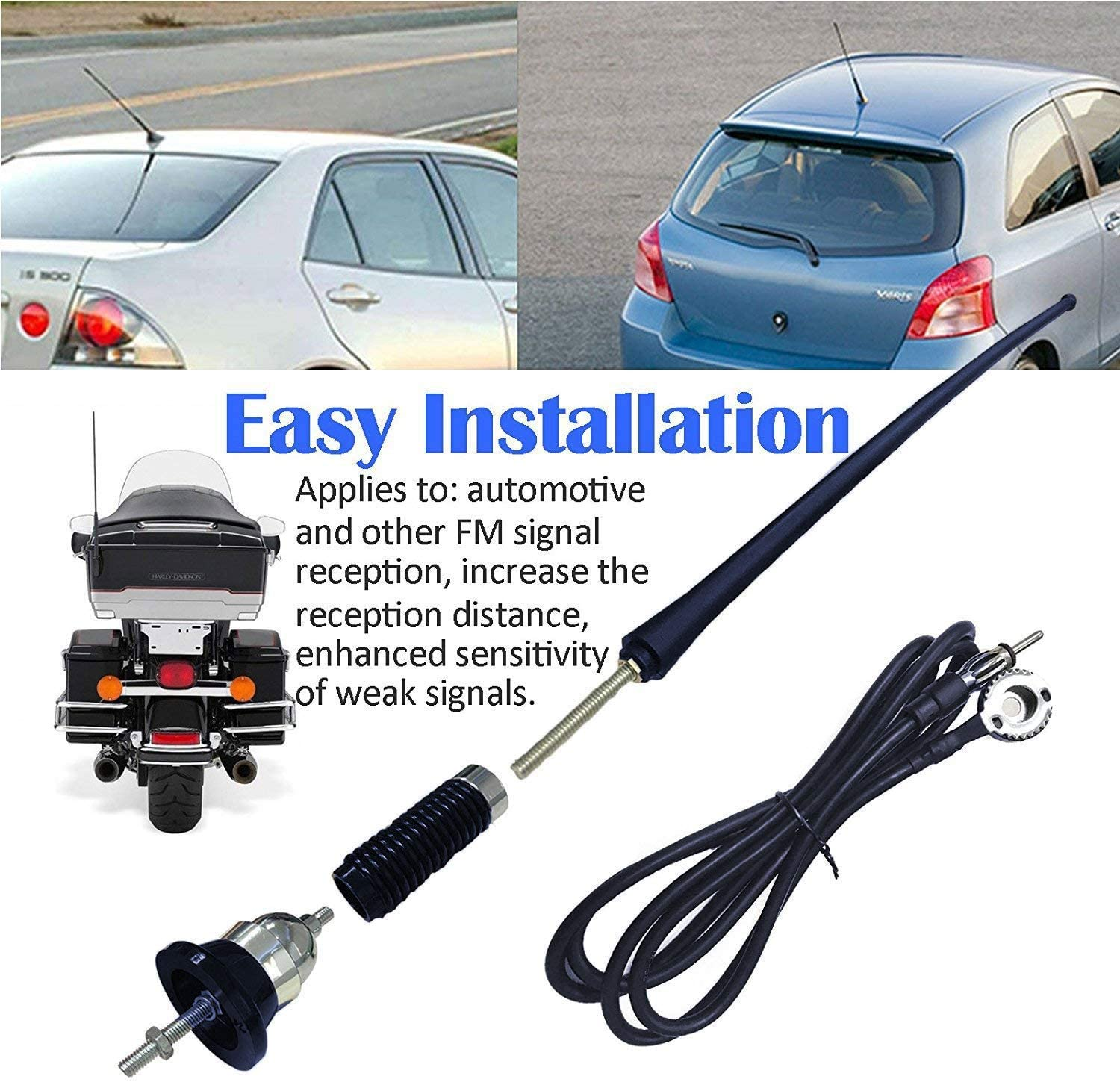 FLYPIG Universal 16inch Car Stereo Auto Roof Fender Radio Signal Antenna FM AM Wing Mount Aerial