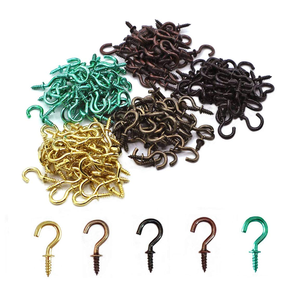 IDEALSV 250 Pcs Small Cup Hooks 1//2 Inch Screw Ceiling Hooks Christmas Lights Hooks Patio Hanging Hooks Jewelry Hooks 5 Colors Gold,Bronze,Black,Antique Copper,Turquoise Green
