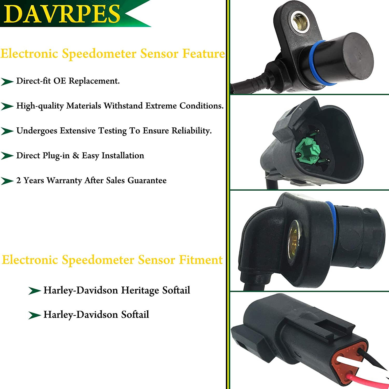 DAVRPES 74437-96B Electronic Speedometer Sensor For 1996-2003 Harley Softail Fatboy FXSTB Replace#74437-96A|7443796A|74437-96|7443796