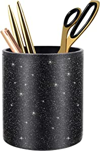 WAVEYU Pen Holder for Desk, Glitter Decor Gift Pencil Cup for Women Men, Luxury Makeup Brush Holder Large Pu Leather Multi-Functional Organizer Cup, Gift for Office, Classroom, Home, Bling Black