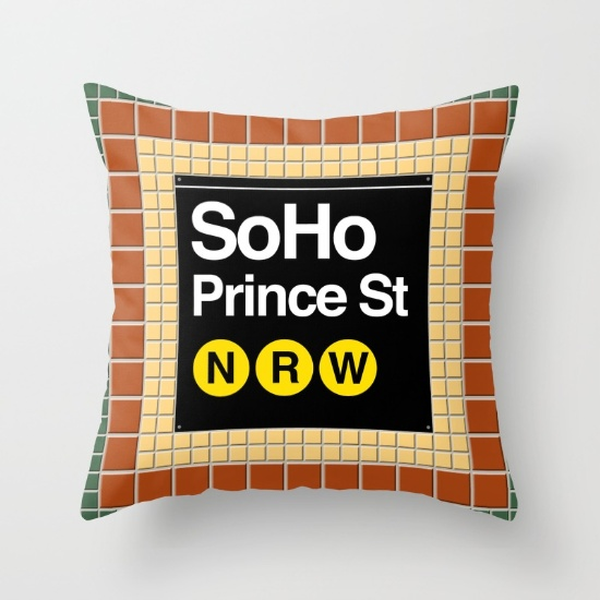 subway soho sign Throw Pillow with insert