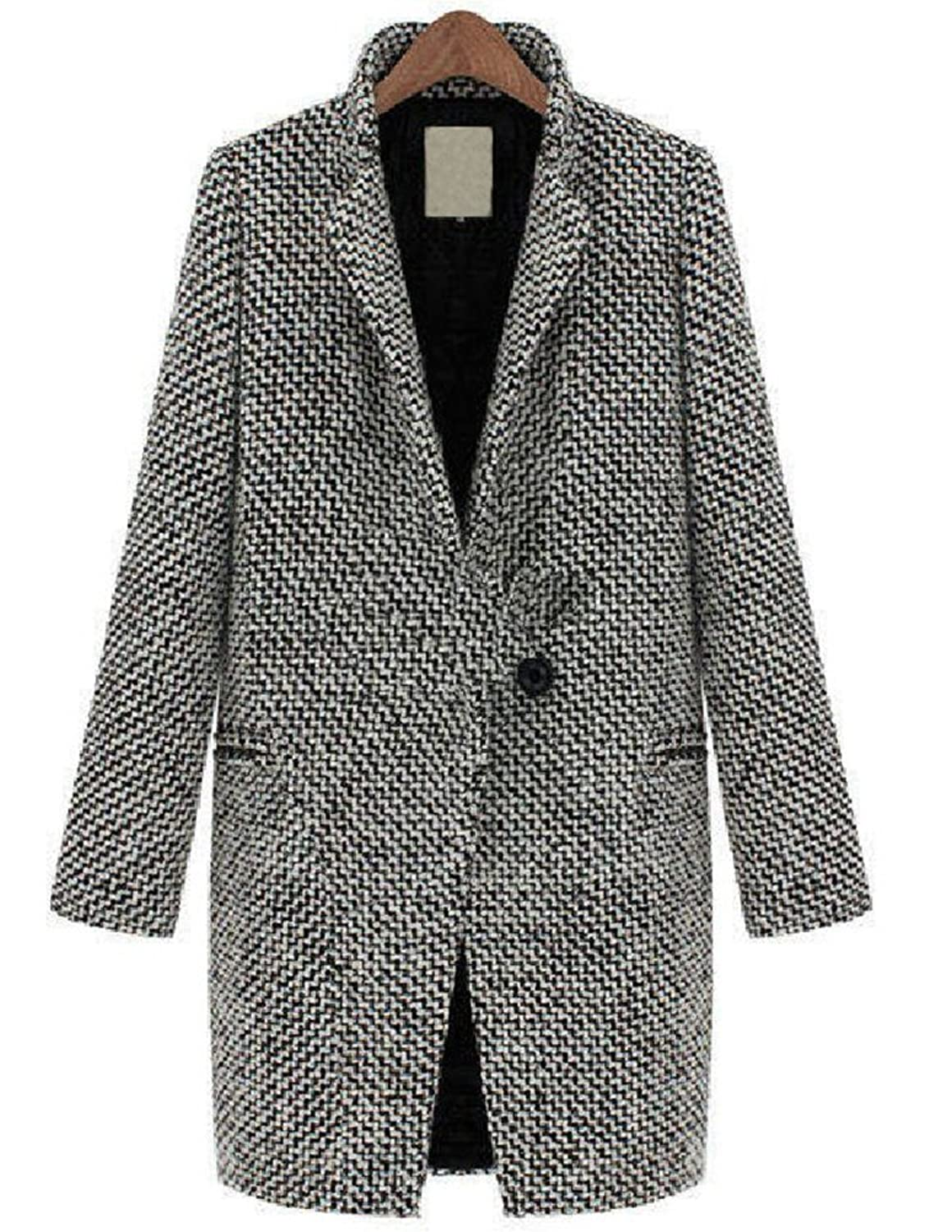 Womens Classic Lapel Houndstooth Woolen Blends Long Trench Coat Outerwear Jacket