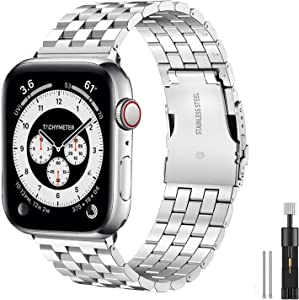 Hallsen Compatible with Apple Watch Bands 40mm 38mm, Upgraded Solid Stainless Steel Metal Apple Watch Band iWatch Replacement Strap for Apple Watch Series 6/5/4/3/2/1/SE (Silver, 38/40mm)