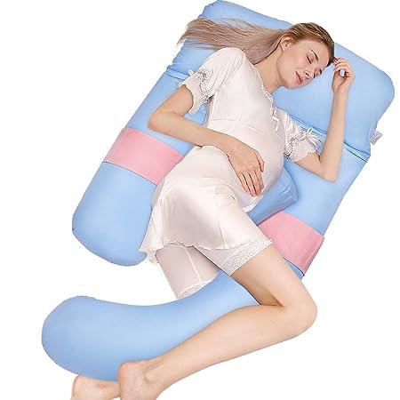 HBselect Almohada Embarazo Mejorar Sueño Suave Algodon 150 X 75 Cm Almohada Maternidad para Espalda Lumbar Barriga Caderas Piernas Dormir U Forma ...