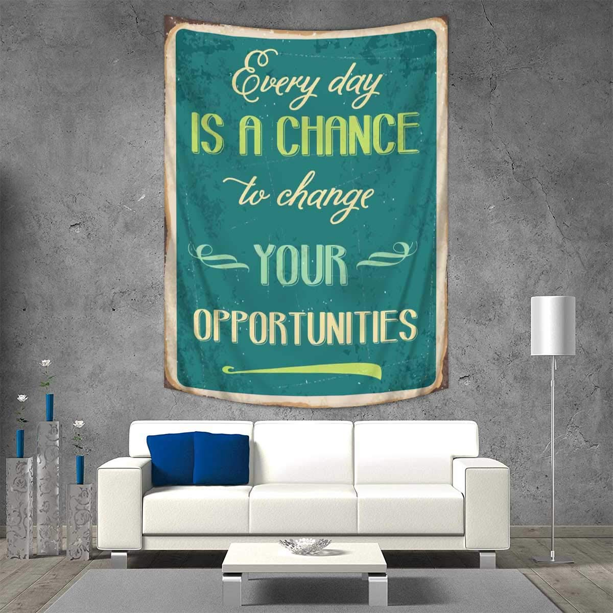 Anhuthree Lifestyle Tapestry Table Cover Bedspread Beach Towel Every Day is a Chance to Change Your Opportunities Quote Retro Poster Print Dorm Decor 54W x 72L INCH Jade Green Tan