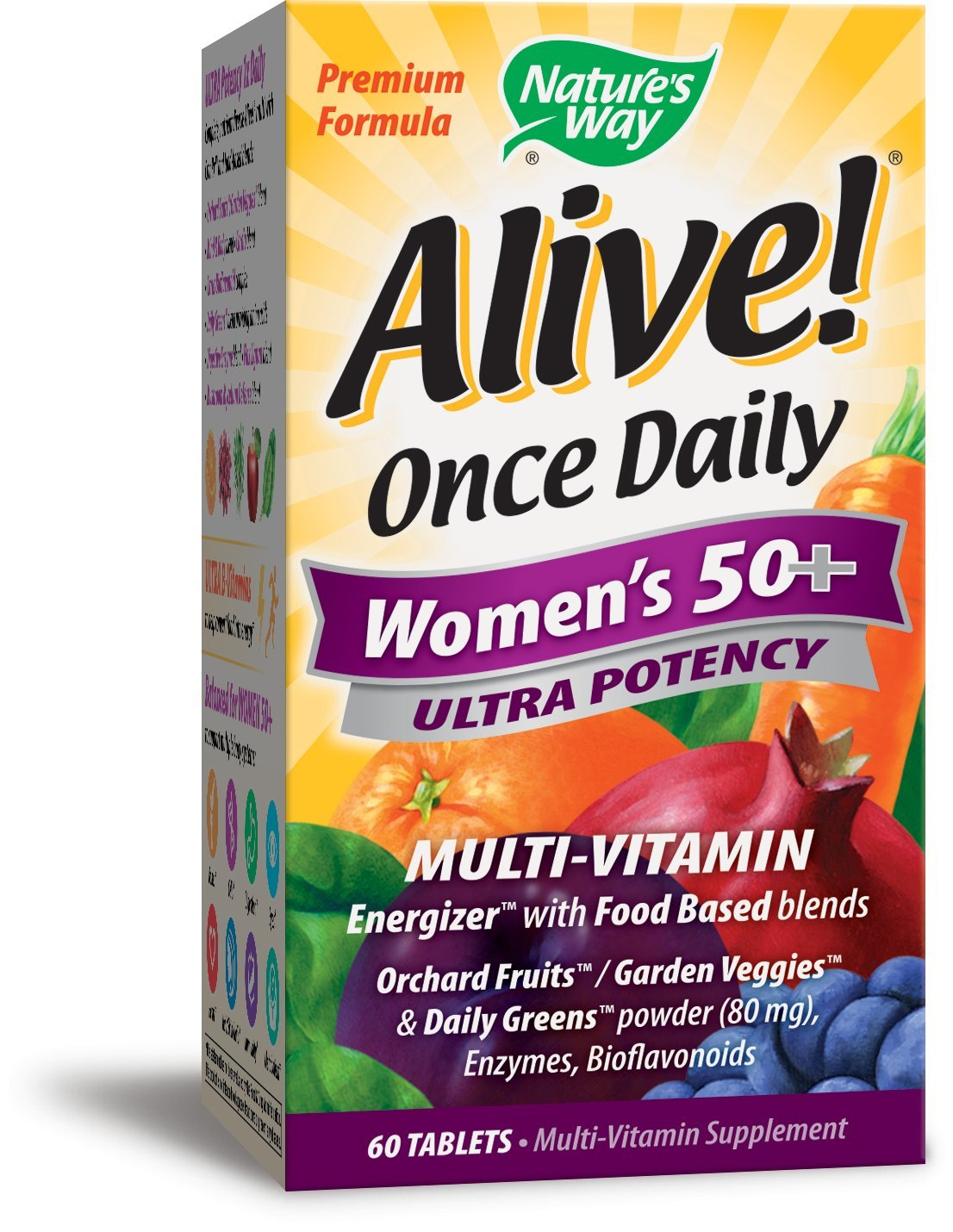 Nature's Way Alive! Once Daily Women's 50+ Multivitamin, Ultra Potency, Food-Based Blends (230mg per serving), 60 Tablets