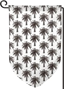 TENJONE Garden Flag Winter Yard Decor Bright,Fully Grown Coconut Banana Trees with Retro Effect Lush Forest Foliage,Double-Sided 12x18 inch
