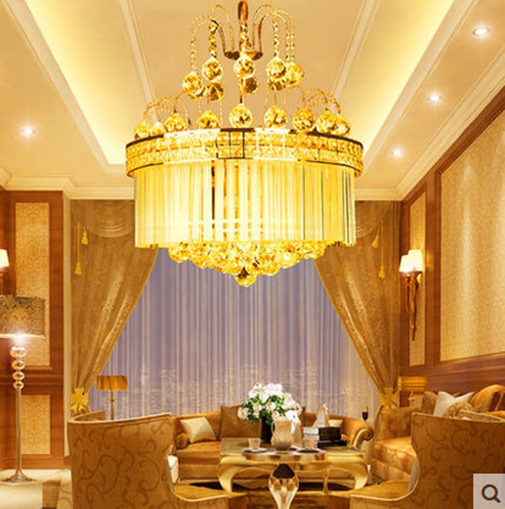 Luxury K9 Crystal Pendant Lamps Lights Golden Crystal ...
