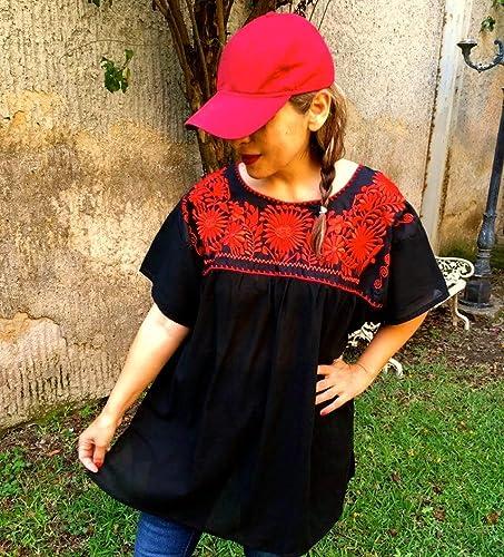 e87f76e471 Amazon.com  Mexican Blouse for Women Embroidered Plus Size  Handmade