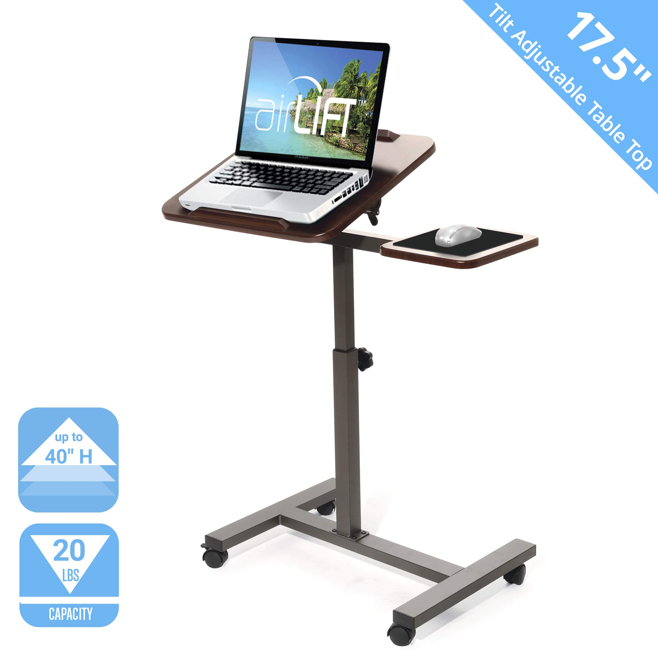 Seville Classics Tilting Sit-Stand Computer Desk Cart with Mouse Pad Table, Height-Adjustable from 27.5'' to 40'' H, Walnut by Seville Classics