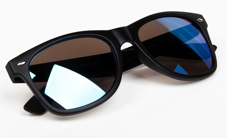 styleBREAKER verspiegelte Nerd Sonnenbrille, Retro Design, Unisex 09020039, Farbe:Gestell Schwarz matt / Glas Dunkelblau
