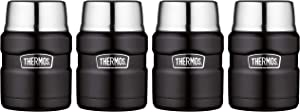 Thermos Stainless King 16 Ounce Food Jar with Folding Spoon, Matte Black, 4 Pack