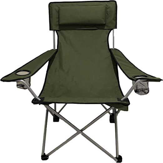 HOMECALL Camping Chair, foldable, green, Armrests with Cupholder