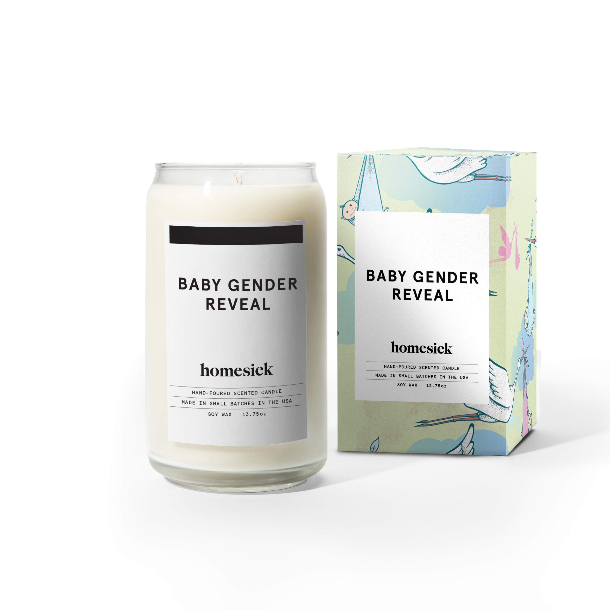 Homesick HSCA1-BBY-BOY-WH01 Baby Gender Reveal Candle, Boy