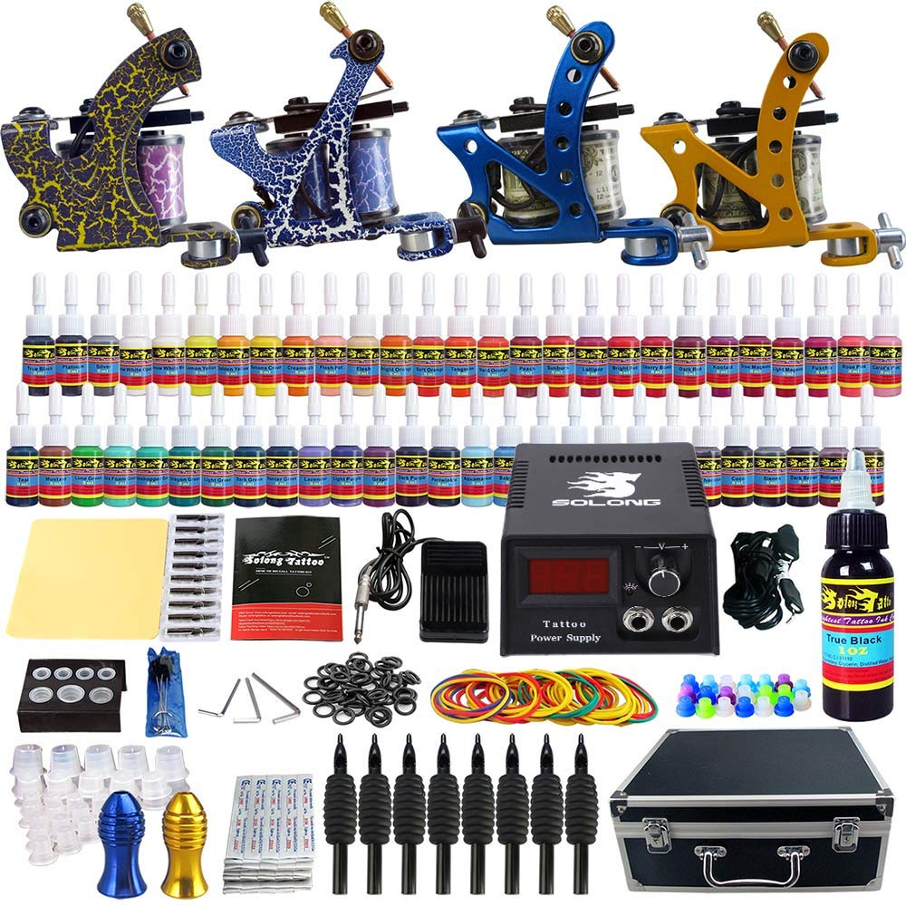 Solong Tattoo Complete Tattoo Kit 4 Pro Machine Guns 54 Inks Power Supply Foot Pedal Needles Grips Tips Carry Case TK453 by Solong Tattoo