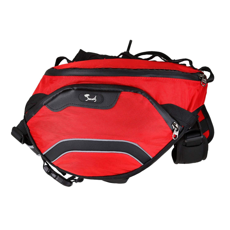 DECMAY Dog Saddle Bag Large Adjustable Reflective Detachable Red 2 in 1 Dog Harness Saddle Bag Backpacks with Handle Durable Lightweight for Pets Outdoor Walking Hunting Red,Large