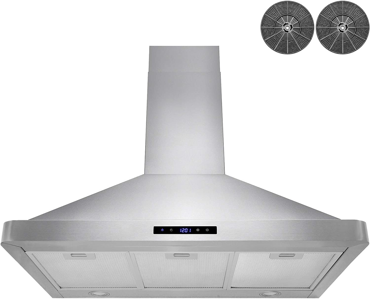 3-Speed Professional Quiet Motor LED Lights /& Carbon Filters Modern Design AKDY 36 in Wall Mount Range Hood Stainless-Steel Hood Fan for Kitchen Premium Touch Control Panel