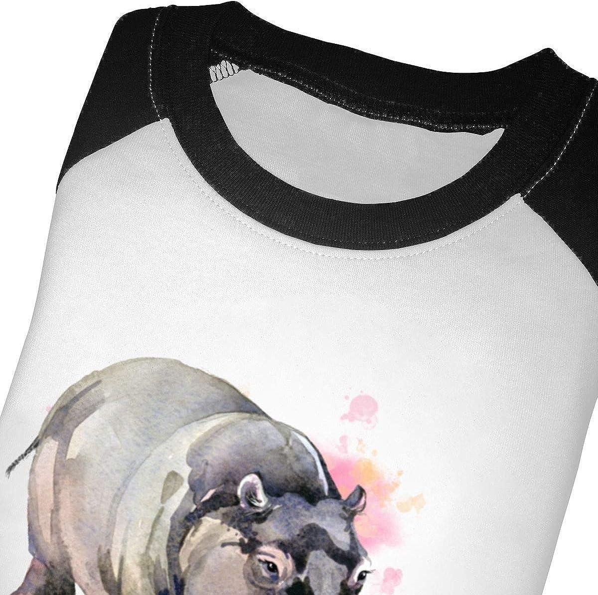 Hippo Love Raglan 3//4 Sleeve T-Shirt for Girls Boy