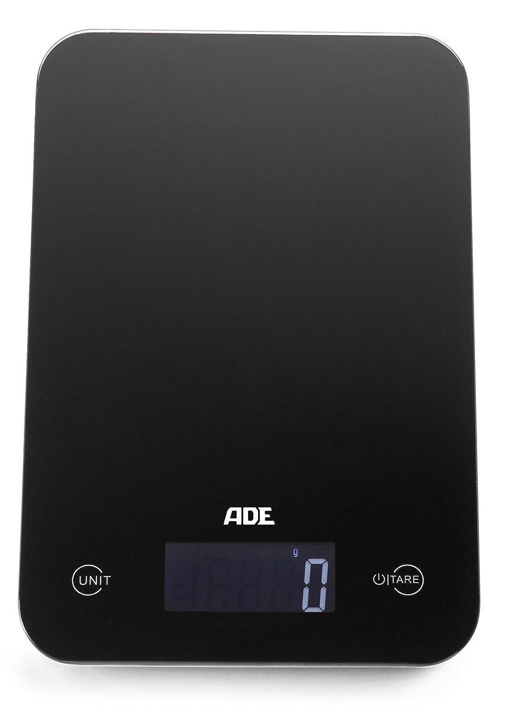 ADE Báscula de cocina digital KE863 Slim. 12mm de altura. Display LCD. Pesa hasta 5Kg.Tara. Sensor al tácto. Támbien para líquidos.Incluye baterias.