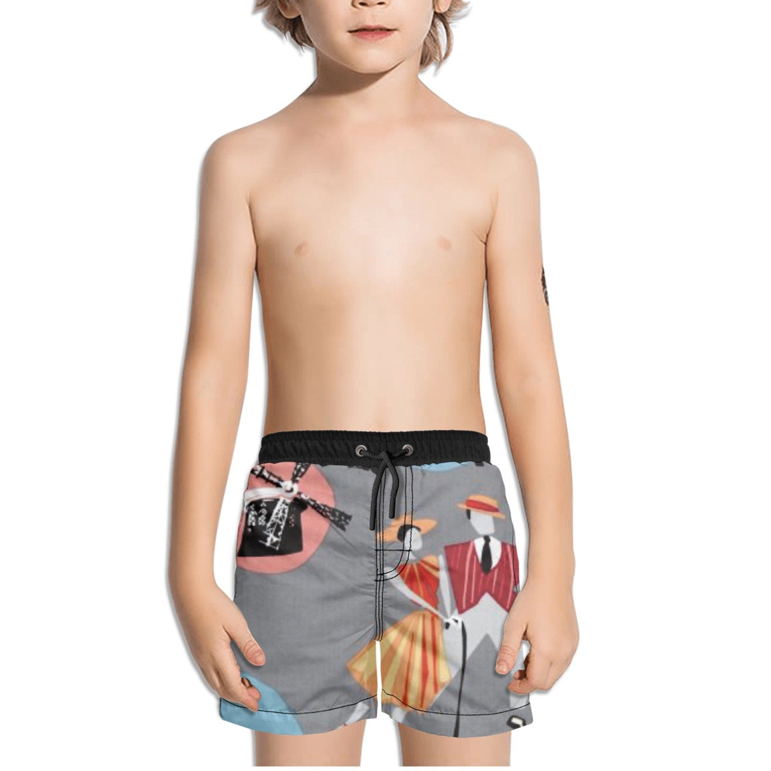 Ouxioaz Boys Swim Trunk Dancer Paris Eiffel Tower Beach Board Shorts