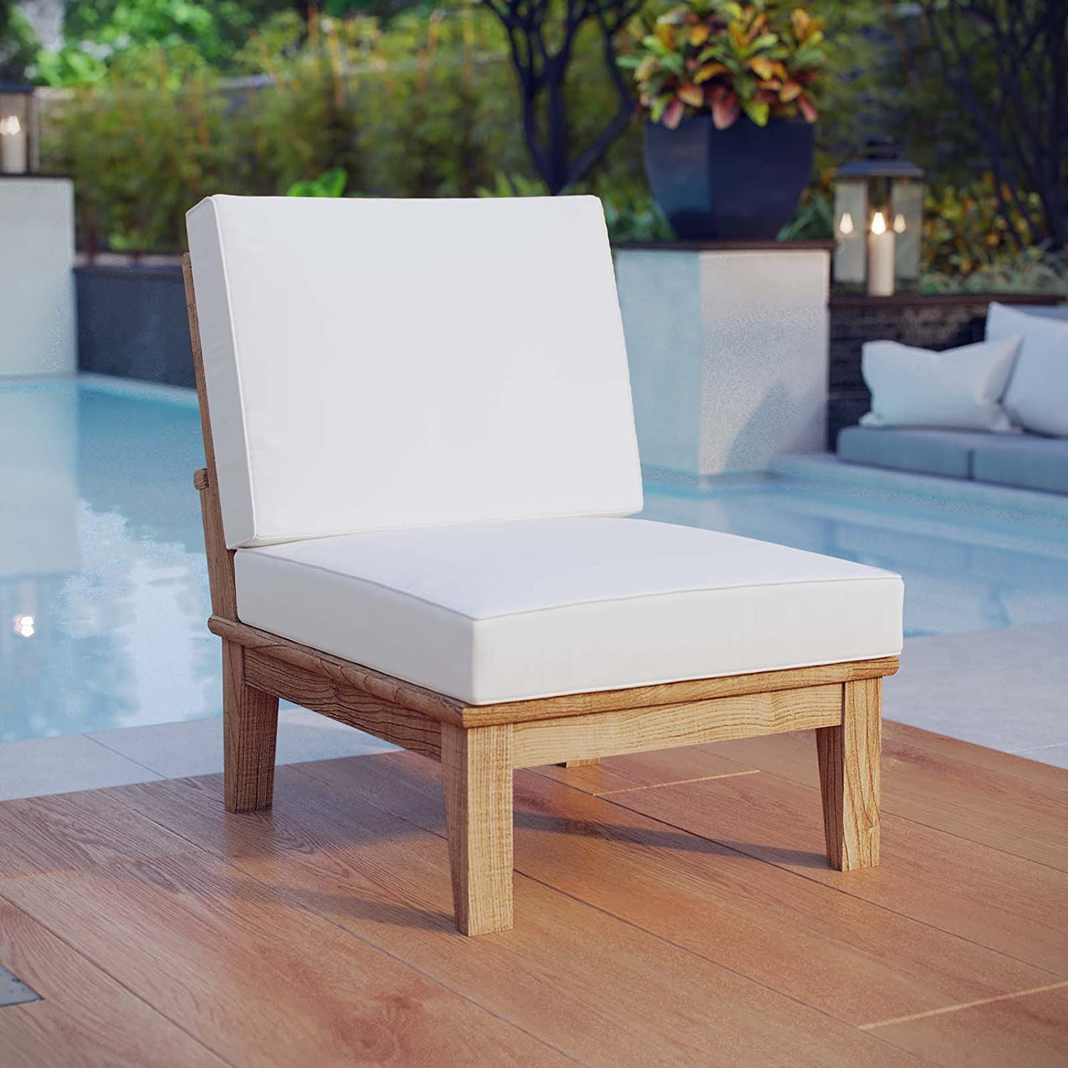 Modway Marina Premium Grade A Teak Wood Outdoor Patio Armless Chair, Natural White