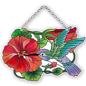 "Nasturtium and Hummingbird Painted Glass Suncatcher by Joan Baker 4.25"" x 5.5"""
