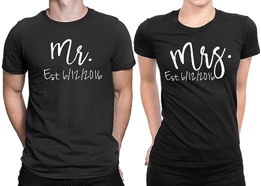 Amazon mr mrs est newly married couple matching t shirt
