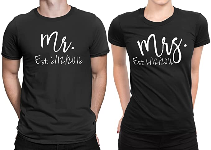 a5d5757b87 Mr Mrs Est Newly Married Couple Matching T-shirt Honeymoon valentines  Anniversary Men Large /