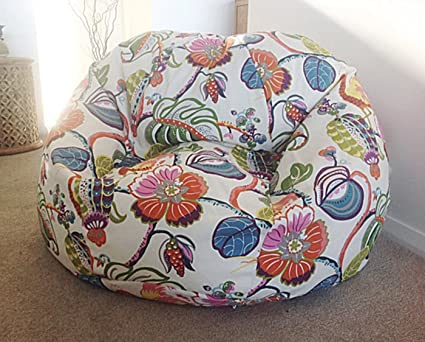 Wondrous Style Crome Floral With Leaf Pattern Bean Bags With Beans Filled Size Xxl Inzonedesignstudio Interior Chair Design Inzonedesignstudiocom
