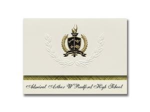 Signature Announcements Admiral Arthur W Radford High School (Honolulu, HI) Graduation Announcements, Presidential Elite Pack 25 with Gold & Black Metallic Foil seal