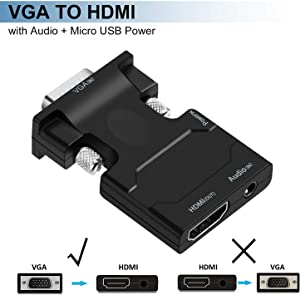 VGA to HDMI Adapter, avedio links VGA to HDMI Video Converter Adapter Male to Female for TV, Computer, Projector with Audio and Power Cable,Portable Size-Plug and Play