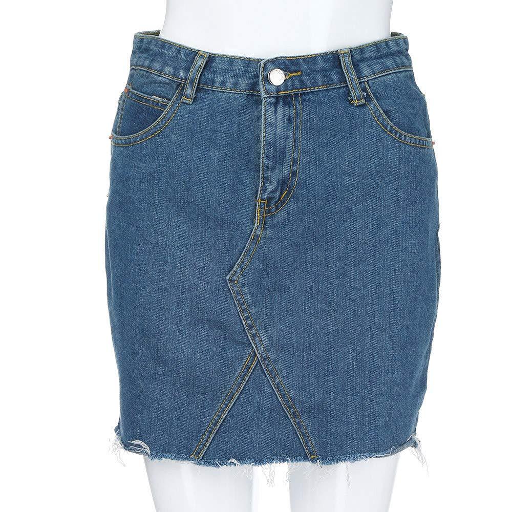 6b2cd11516d Holywin Jupe Jean Courte Taille Haute Femme Ligne A Casual Affligé   Amazon.fr  Vêtements et accessoires