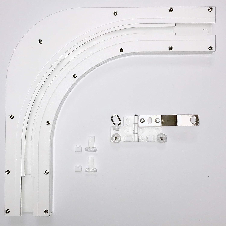 Bianco Binari a Curva. da 1 a 4 Metri Alluminio Binario motorizzato per Tende Binario Elettrico con Telecomando ABALON Tende Motorizzate