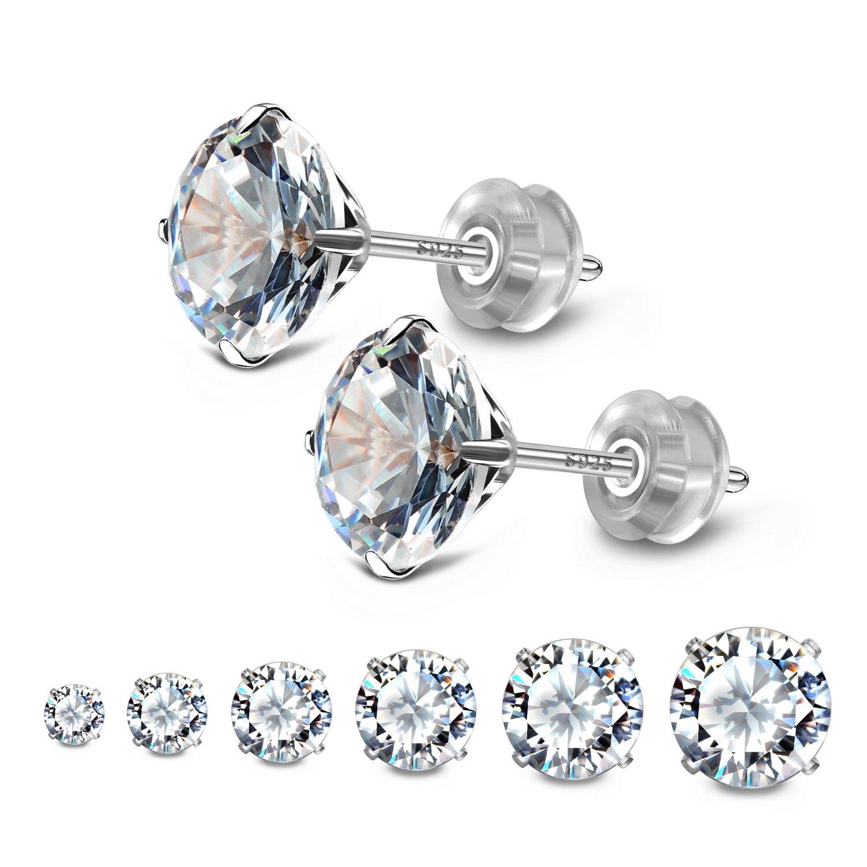 JADENOVA 925 Sterling Silver Cubic Zirconia Stud Earrings for Women (6 Pairs)