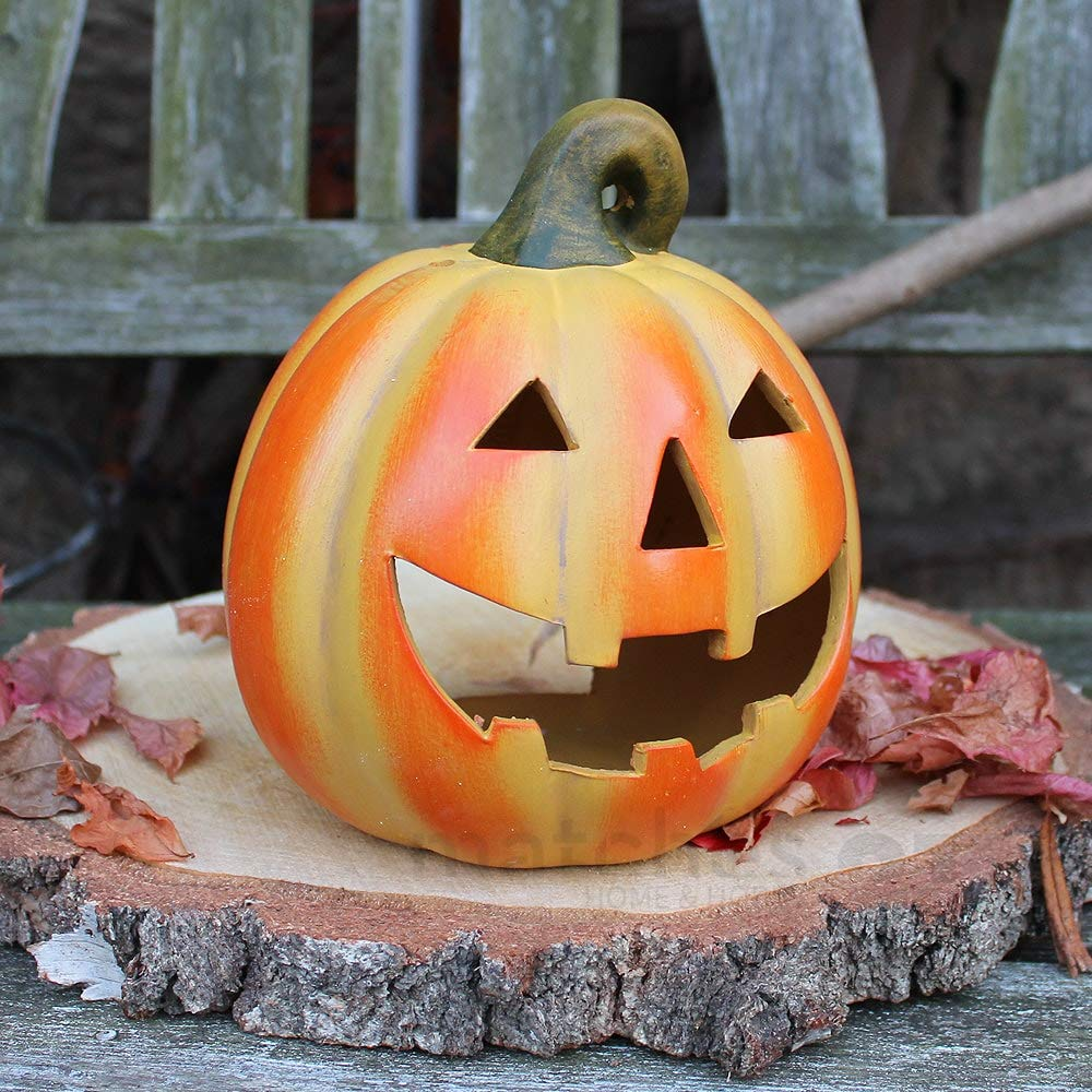 nice autumn halloweendecoration pumpkin stormlamp 19x21 cm from clay matches21