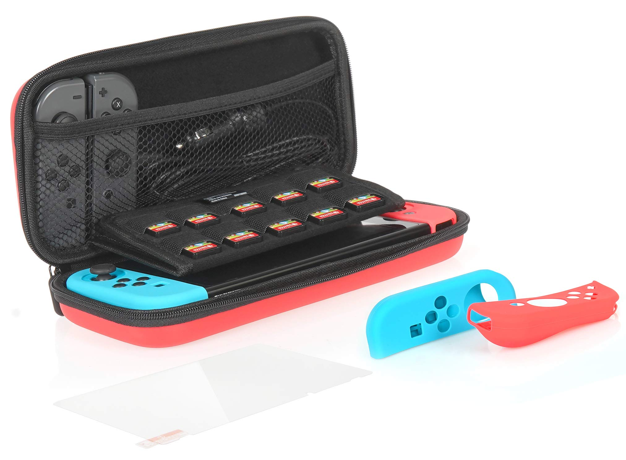 AmazonBasics Protection Kit for Nintendo Switch with Carrying Case and Tempered-glass Screen Protector - Red product image