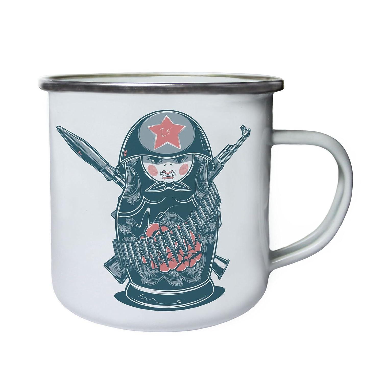 Matryoshka Russian Doll Soldier War Retro lata taza del esmalte 10oz//280ml aa830e