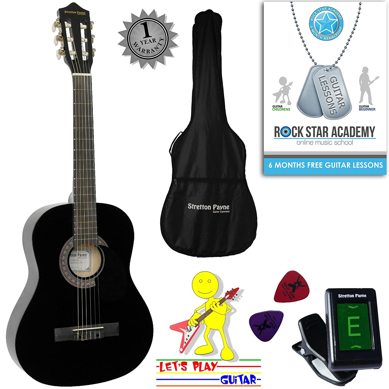 Guitarra acústica paquete 3/4 tamaño (36 pulgadas) clásica cuerda de nailon para niños Guitarra Pack rosa Stretton Payne SP34