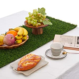 """Kunta Synthetic Grass Table Runner, Approx 14"""" x 144"""" Compatible Placemats, Realistic Look, Perfect for Spring, Fall Holidays, Parties, Wedding Banquet Decoration Indoor or Outdoor Parties (Cut Edge)"""